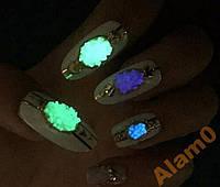 Светящиеся кристаллы для ногтей 3D желтый песок
