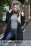 Женская зимняя куртка-парка с капюшоном и мехом черная