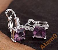 Серьги с фиолетовыми кристаллами посеребренные