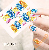 Водные наклейки слайды STZ-157 желтый и синие розы