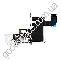 Шлейф с разъемом зарядки и гарнитуры для iPhone 6 (4.7), цвет белый, копия высокого качества