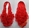 Красный парик, пышный, кучерявый, очень длинный