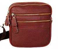 Мужская кожаная сумка через плечо для документов коричневая