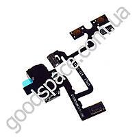 Шлейф с разъемом наушников (цвет черный) и кнопками регулировки громкости для iPhone 4