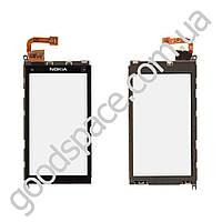 Тачскрин (сенсор) Nokia X6, с рамкой, цвет черный