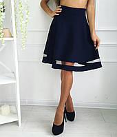 Женская юбка с вставкой из сетки