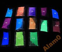 Светящийся в темноте порошок люминофор 3 цвета на выбор, в пакете, фото 1