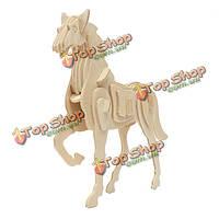 3D головоломки деревянные развитии животного детские игрушки лошадь