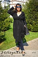 Кашемировый пальто-кардиган большого размера с капюшоном черный