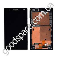 Модуль Sony LT26i Xperia S: дисплей + тачскрин (сенсор), с рамкой, цвет черный, копия