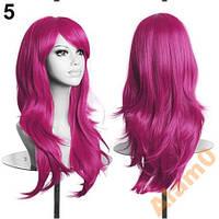Розовый яркий парик, пышный, каскадом