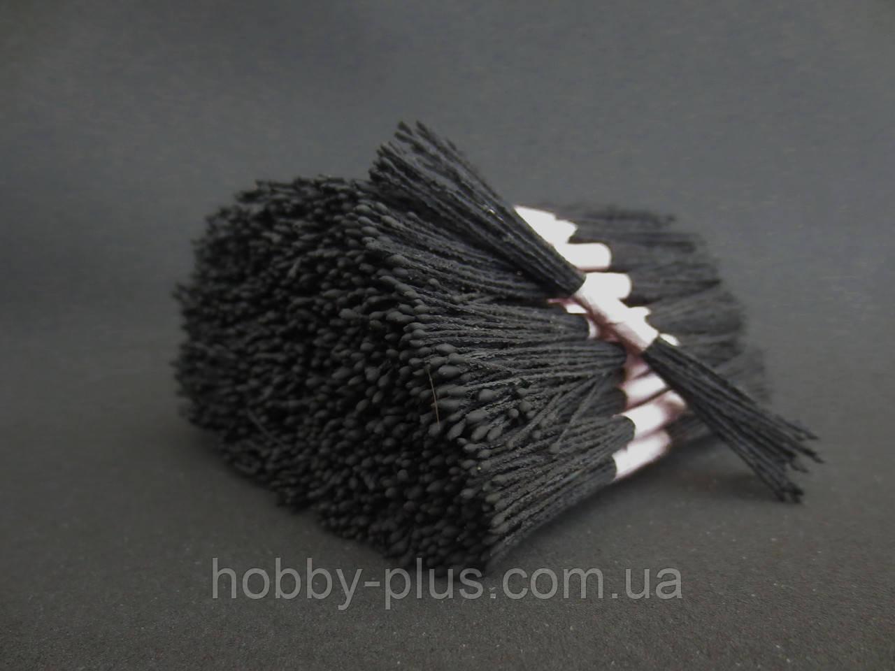 Тайские тычинки, ЧЕРНЫЕ, супер-мелкие на черной нити, 23-25 нитей, 50 головок