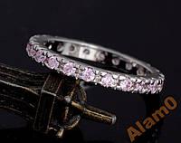 Кольцо с розовыми фианитами, размер 7 USA