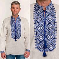 Вышитая синяя рубашка для мужчин на льне, фото 1