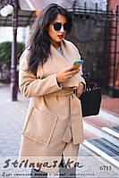 Кашемировое пальто с накладными карманами большого размера беж, фото 1