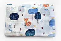 """Большая муслиновая пеленка """"Лисичка в лесу"""" муслин, 115х120 см, Little Big Dream"""