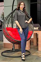 Элегантная блуза Клементина с брошью и пуговицами по спинке из коттона костюмки 42-48 размера