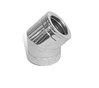 Колено с нержавеющей стали термоизоляционное двустенное (1.0мм) 45° Ø100/160