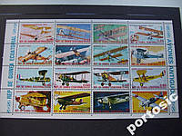 М/лист 16 марок Экватор Гвинея 1974 самолёты