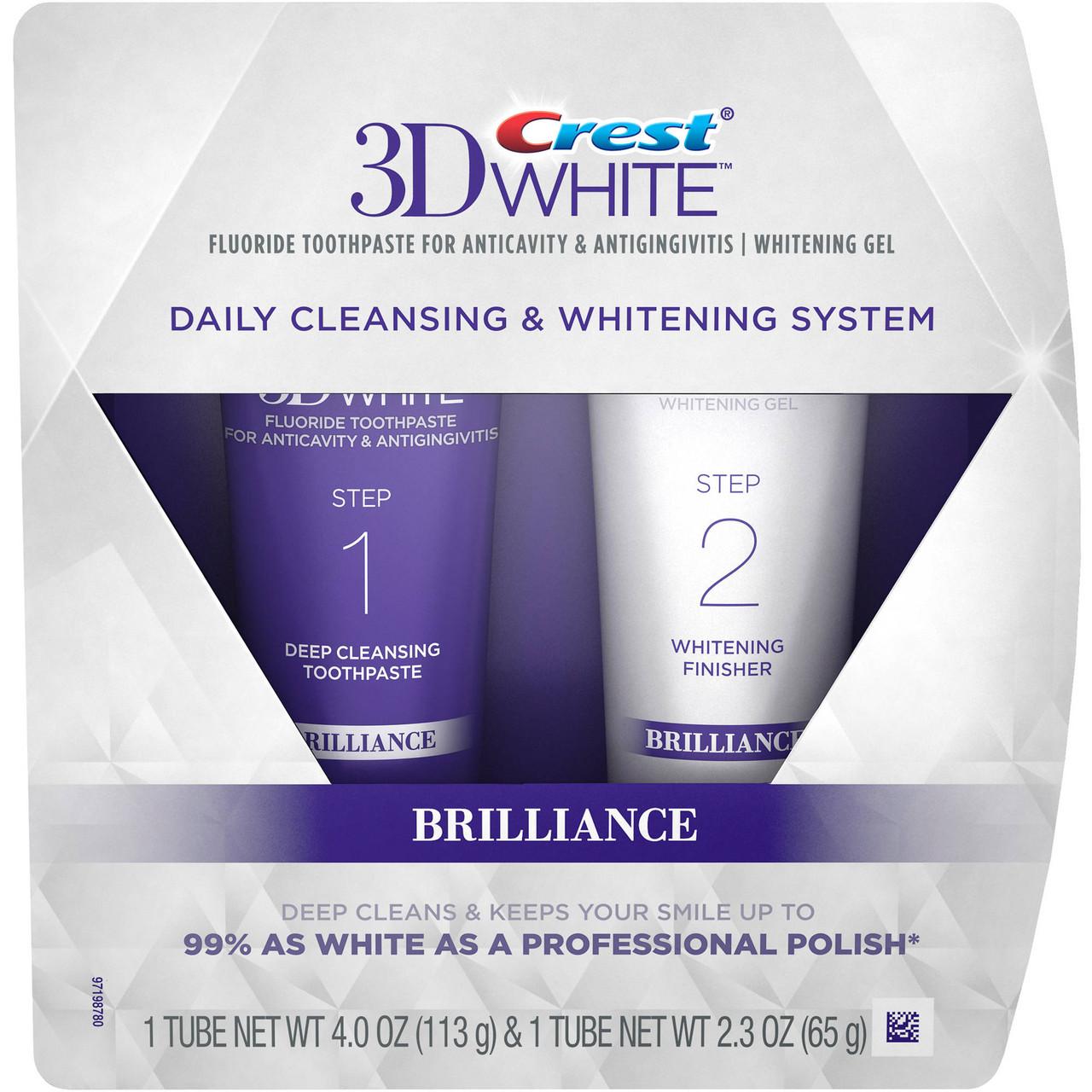 Двухуровневая система отбеливания зубов Crest 3D White Brilliance Daily Cleansing Toothpaste and Whitening Gel