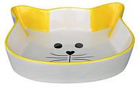 Миска TRIXIE керамическая для кота 0,25л/12см Кошачья мордочка