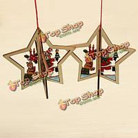 2шт Рождество деревянная пятиконечная звезда елочные аксессуары