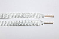 Шнурки плоские (чехол) 8 мм. белый+серебро люрикс, фото 1