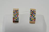 Серьги из серебра с цветными кристаллами Сваровски