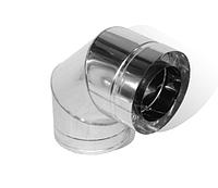 Колено с нержавеющей стали термоизоляционное двустенное (0.8мм) 90° Ø100/160