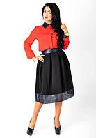 Стильная юбка-миди с кожаными вставками