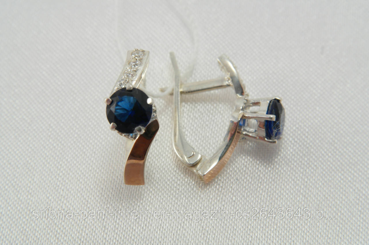 Серебряные женские серьги с фианитами цвета сапфир и золотыми вставками 5a80e0b5298