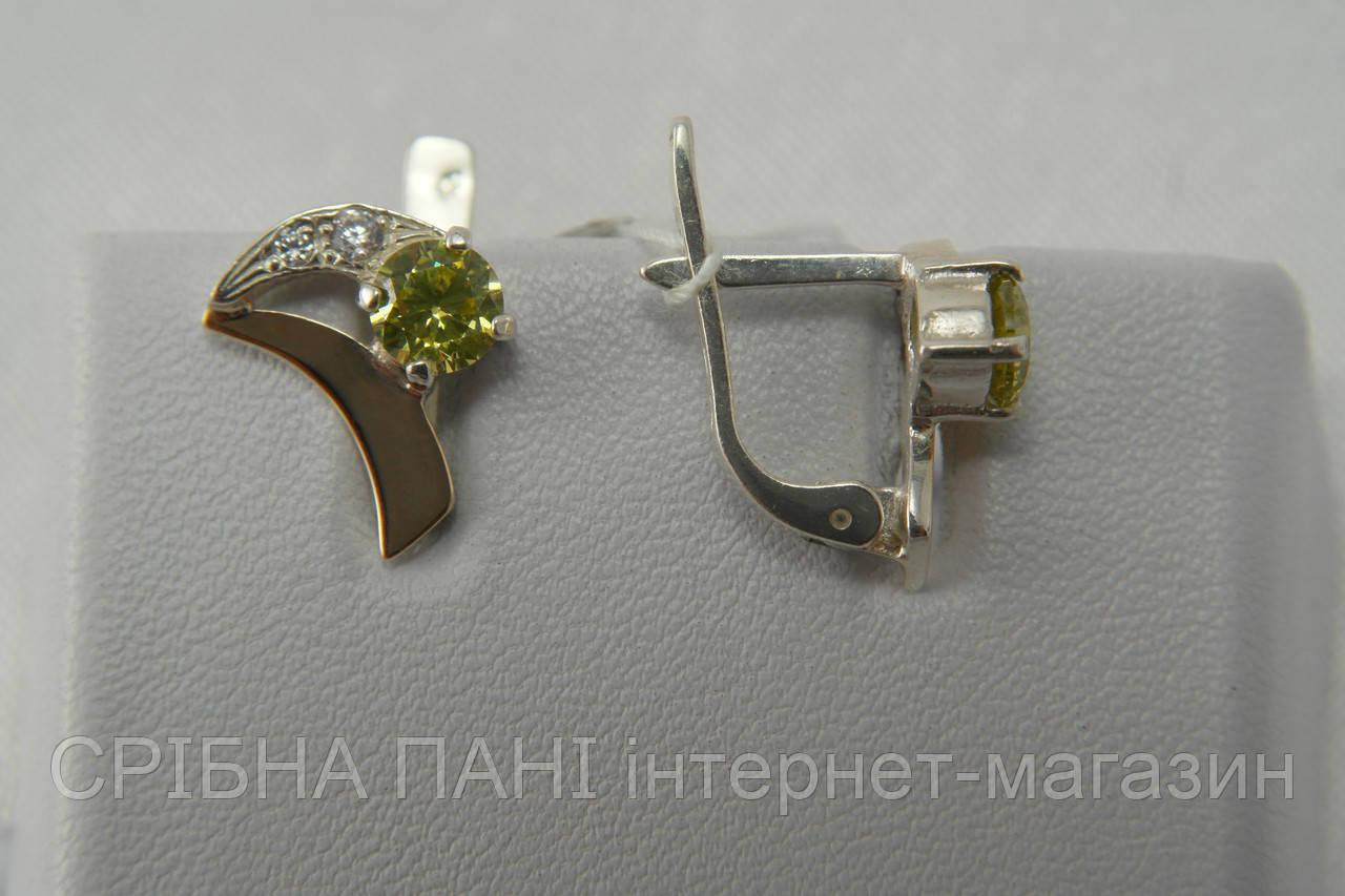 Серебряные сережки 925 пробы с золотом и цирконами - СРІБНА ПАНІ интернет- магазин в Броварах f3b4b1f686f