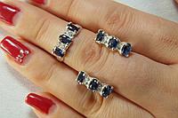 Серебряные украшения в наборе - кольцо и серьги