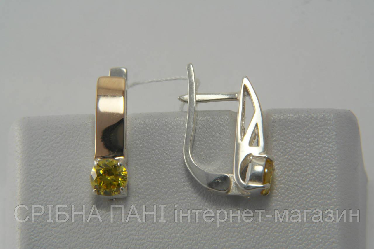 Серьги из серебра с золотом и оливковыми фианитами   продажа, цена в ... d506115c0dd