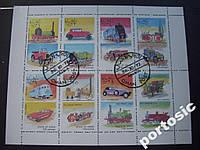 М/лист 8 марок Оман 1972 машины и паровозы