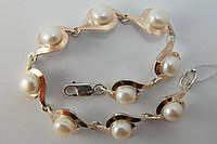 Серебряный женский браслет с жемчугом и золотом