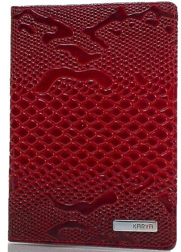 Стильная женская обложка для паспорта из натуральной кожи KARYA (КАРИЯ) SHI092-019 красный