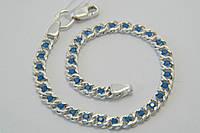 Браслет серебряный 925 прбы с голубыми камнями