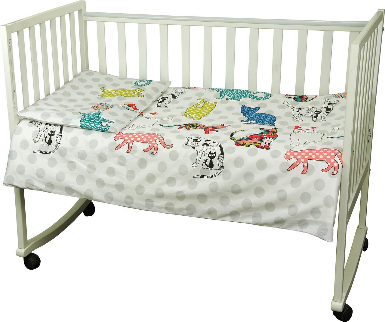 Детский комплект постельного белья для кроватки сатин 60Х120  Cat (932)