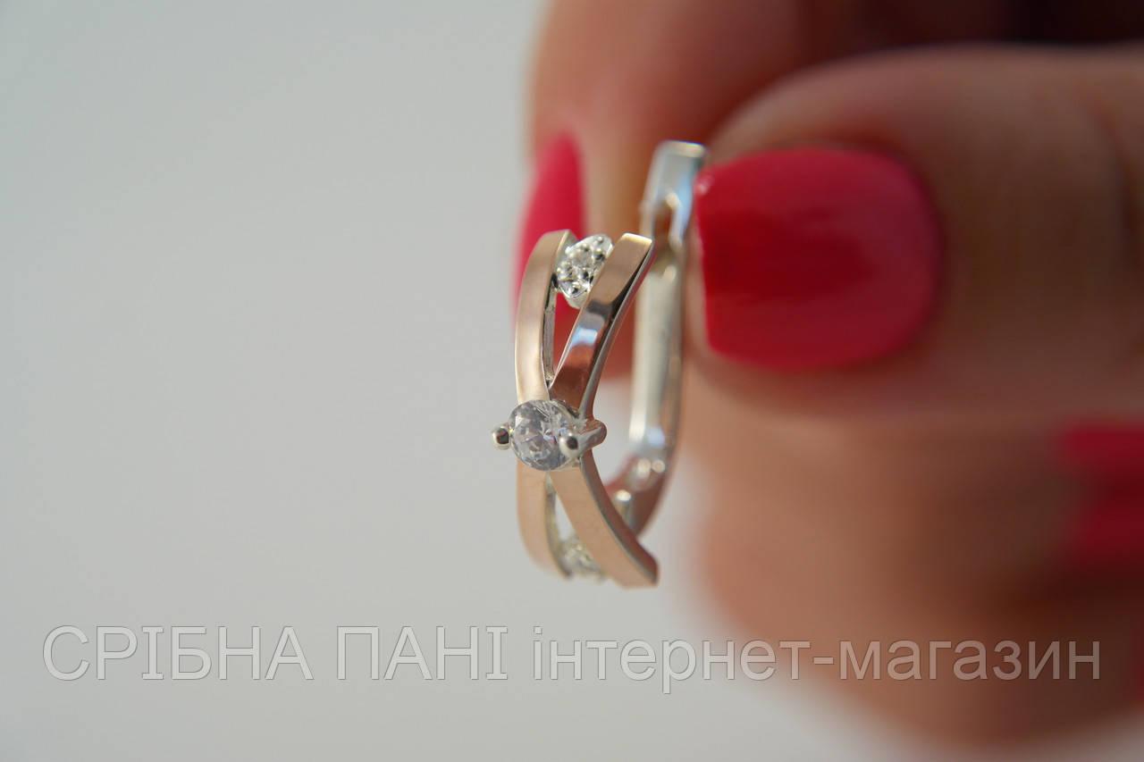 Серьги из серебра оригинальной формы с фианитами и золотом - СРІБНА ПАНІ  интернет-магазин в 01712d749ca