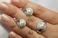 Набор серебряных украшений с жемчугом натуральным и золотом