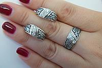Комплект ажурных серебряных  украшений с чернением и цирконами