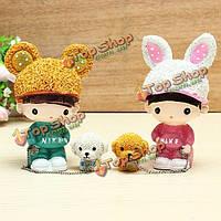 Кроличья шапка собака кукла любителей смолы ремесел гулять с собакой кукла