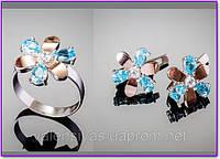 Серебряный набор украшений - кольцо и серьги с золотыми вставками и цирконием