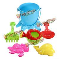 7шт малышей осьминог ведро лопата грабли горшок воды песка пляжа инструменты игрушки