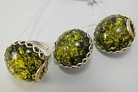 Серебряные украшения с янтарем в комплекте - серьги и кольцо