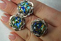 Кольцо и серьги из серебра с опалом и пластинами золота