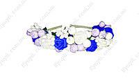 Ободок декорированный цветами Голубая лагуна