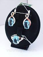 Серебряное кольцо и серьги с золотыми накладками. Набор серебряных украшений.