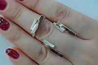 Серебряное кольцо и серьги.Набор ювелирных серебряных украшений с золотыми вставками
